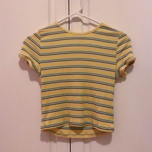 Forever 21 Yellow Striped Crop Top